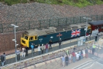 The class 47 County of Essex leads the train back through Galashiels on the return to Edinburgh.
