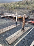 Alan starts to get some of the mile posts on display at the end of the platform.