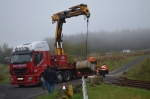 One of the first jobs was to remove the  concrete blocks that will be used for the level crossing gates.