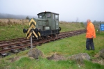 The Ruston on stand-by ready to move the brake van once it has landed.