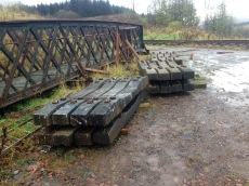 Some of the sleepers from Methil stockpiled for future developments.