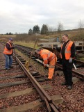 Work continues to break down the track panel ready for renewal