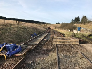 Looking north from the crossing with the upgraded panel to the right, and the sleepers for the next panel on the left