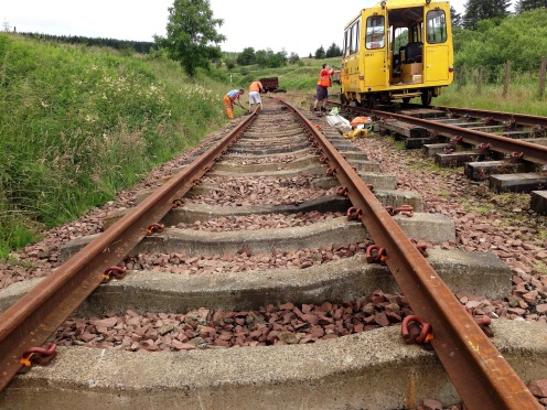 Rails in place