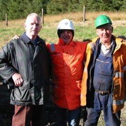 Bill Blake, Len Ashton (WRHA Founder member & Chairman), Alan (Lawson's Hiab operator/driver), Jim Lawson (Haulage contractor) photographed at Whitrope on 7th October 2003.