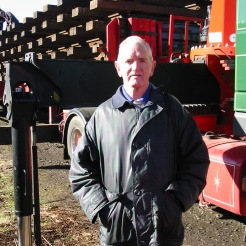 Bill Blake with newly delivered track panels at Whitrope.