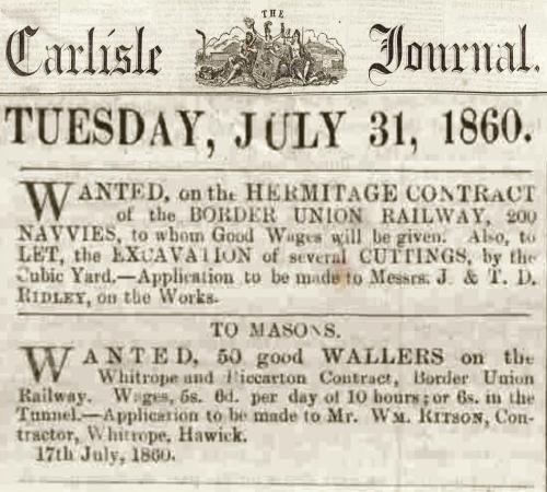 BUR wanted Navvies, Wallers, Carlisle Journal Tues 31 July 1860