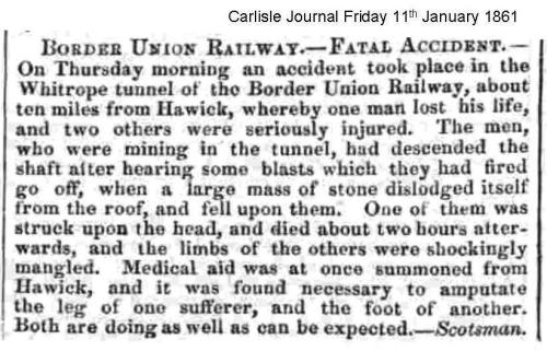 BUR Whitrope Tunnel accident Carlisle Journal Friday 11th January 1861
