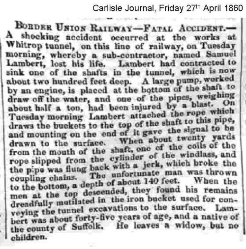BUR Whitrope Tunnel accident Carlisle Journal Friday 27th April 1860