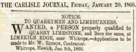 Wanted Quarrymen Limeburners Carlisle Journal Fri 20 Jan 1860